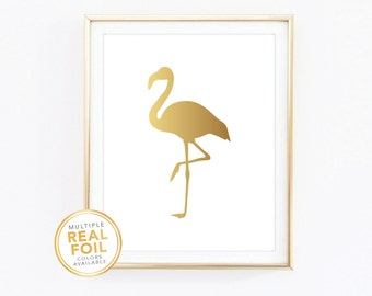 Flamingo, Gold foil print, Real foil, Silver foil print, Home Decor, Art, Gallery Wall, Tropical