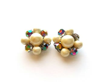 Vintage AB Crystal Glass and Faux Pearl Beads Cluster Earrings
