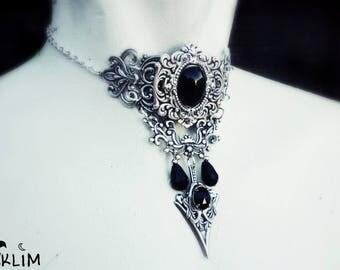 Gothic choker in sterling silver swarovski crystals black in the dark. elegant design