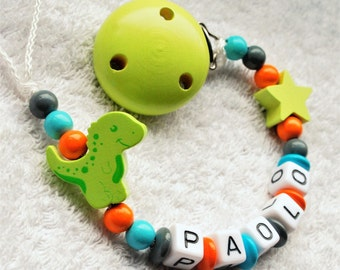 Dummy name, pacifier clip - dinosaur - turquoise, grey, orange - baby chic shop