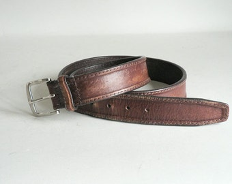 Mens Brown Leather Belt Size 40/101 With Silver Bukle