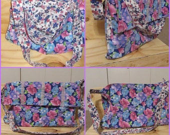 Dual Floral Patterned Messenger Tote