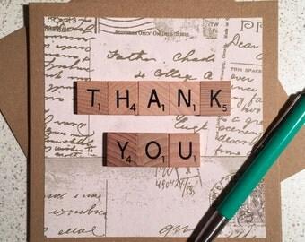 Thank You Card Wooden Scrabble Tiles Handmade Vintage Postcards