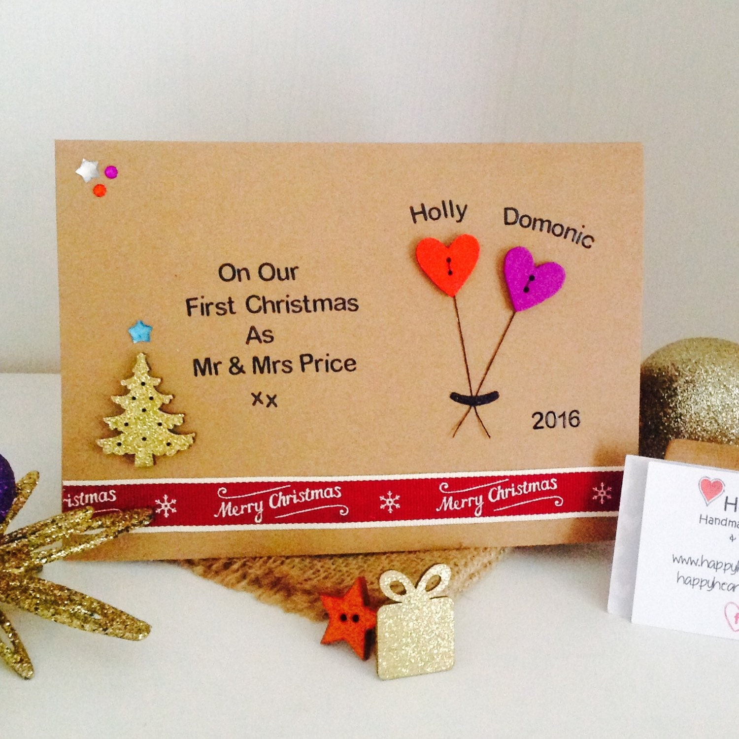 Our first christmas as mr mrs personalised handmade our first christmas as mr mrs personalised handmade christmas card wife 1st christmas card husband 1st christmas card kristyandbryce Choice Image
