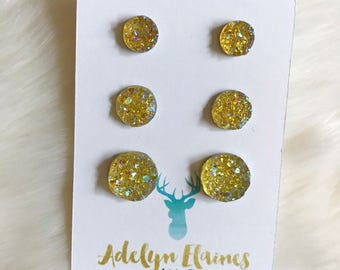 Funfetti Yellow Earring Trio - 8 mm, 10 mm & 12 mm Druzy Earring Studs