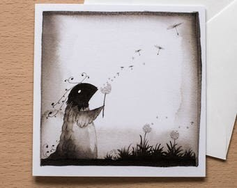 Dandelion Creature - Original Greetings Card - Black and White - Any occasion - Cute Design