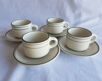 Set of Four Vintage Diner Cups and Saucers