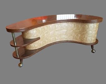 Vintage Mid-Century Atomic Boomerang Portable Bar