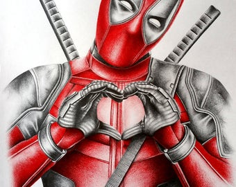 Deadpool Pencil Portrait Drawing Print