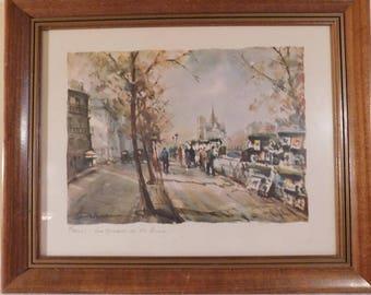 Vintage French Watercolor Paris Les Quais de la Seine Signed Watercolor French Artist