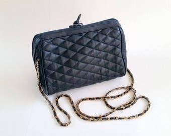 Vintage Quilted Leather Bag | Crossbody Bag | Shoulder Bag | Navy Blue Leather Purse | Leather Chain-Laced Strap | Talbots