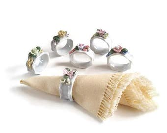 Vintage Napkin Rings | Napkin Rings Wedding | Napkin Ring Holders | Porcelain | Flowers And Ribbons