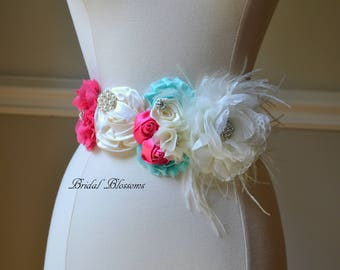 SARAH - Ivory Hot Pink Aqua Flower Maternity OR Bridal Sash | It's A Girl Sash | Newborn Photo Prop | Baby Shower Belly Band Belt | Feathers