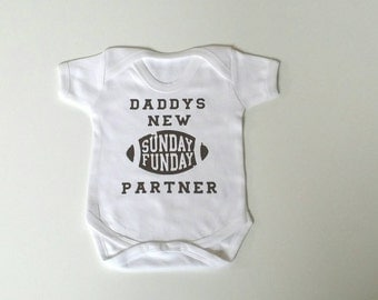 Sunday Funday Babygrow, Football Baby, Father's Day, NFL, American Football, Bodysuit, Baby Gift, Baby Shower, Slogan Vest