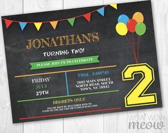 2nd Birthday Invite TWO invitation INSTANT DOWNLOAD Digital Chalk Twins Balloons Art Invitation Printable Girls Boys Chalkboard Editable