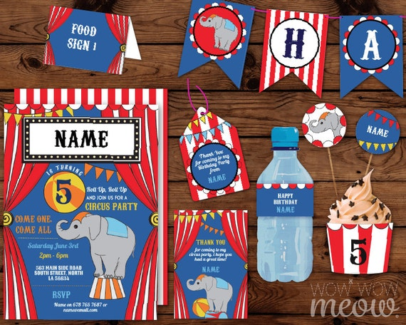 Circus carnival birthday party package invitations for 21st birthday decoration packages
