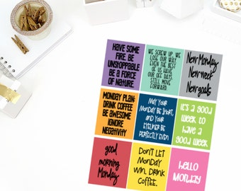 Monday Quotes Stickers! Perfect for your Erin Condren Life Planner, calendar, Paper Plum, Filofax!