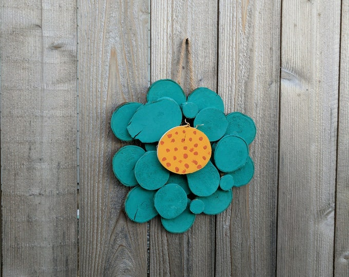 Wood Slice Flower - Whimsical Handpainted Log Slice Flower Wall Hanging