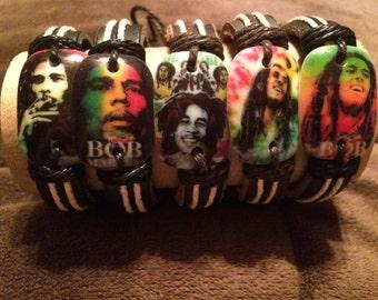 Bob Marley genuine leather and hemp bracelets