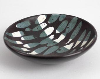 Vintage black white green ceramic bowl, west German pottery, Mid Century, 60s