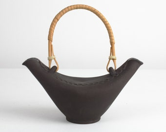 50s vintage black studio ceramic vase by Urban, modernist, east German pottery, Mid Century