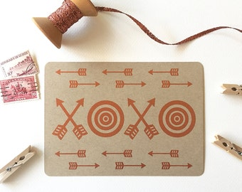 Love Postcard Set, Copper XOXO Lettering, Arrow and Bullseye Design, Brown Kraft Postcards (Set of 3)