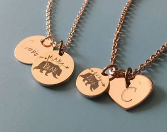 MAMA BEAR BABY Bear Necklace, mama bear jewelry, mother daughter necklace, Mother Daughter matching necklace, Mothers Day Gift 2017