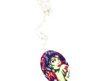 Zombie pin up charm necklace