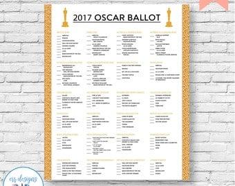 Oscar Ballot, Full Oscar Ballot, Academy Awards Ballot, Oscar Party, Oscar Voting Card