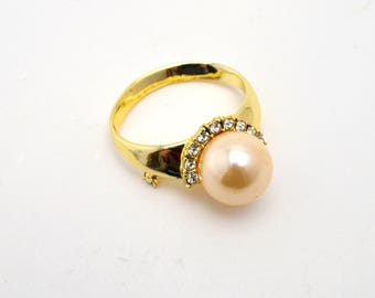 Vintage Oversized Faux Pearl Ring Brooch, Gold Tone Novelty Pin with Rhinestones, circa 1970s