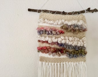 SALE!! White multi color wool wall hanging