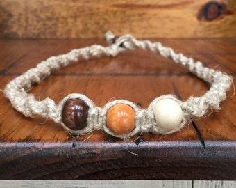 Mens wood bead hemp necklace
