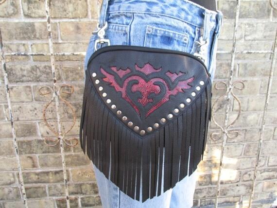Black Leather Belt Bag Clip On Belt Loop Bag Womens Hip Bag