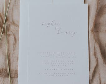Printed, Elegant and Simple, Boho Inspired, Wedding Invitations with Envelopes.