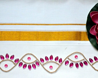 Kundan Rangoli Border / Rhinestone Decor ( a pair)