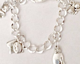 Soft Kitty Warm Kitty Silver Charm Bracelet