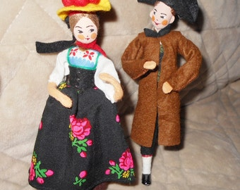 Vintage Pair of  BAPS Dolls  Black Forest Man and Woman  - Germany