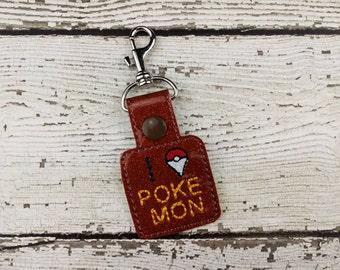 I Hunt Pokemon Keychain - Ready to Ship - Bag Tag - Zipper Pull - Bag Accessory - Small Gift