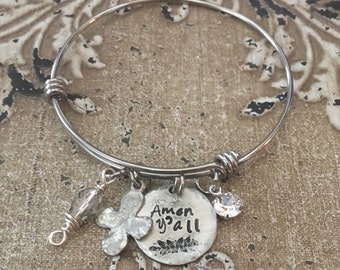 Christian Southern themed Hand Stamped  Stainless Steel Pewter Expandable Bangle Bracelet