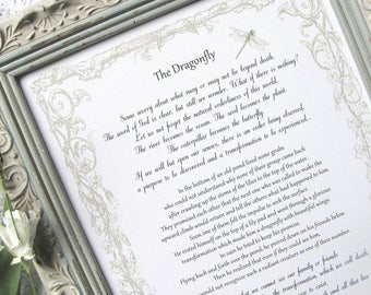 THE DRAGONFLY framed story on death dying, Sympathy gift, Grieving friend gift, Grief gift, Terminal Illness comfort, Funeral planning