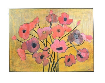 Yellow and Red Poppy Giclee Print on Canvas, Art, Painting, Flowers, Poppies, Bright colors, Original, Abstract,