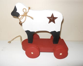 Handmade Primitive Wood Sheep With Wheeled Cart