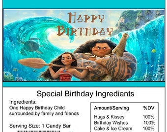 Moana birthday Candy Bar Wrapper