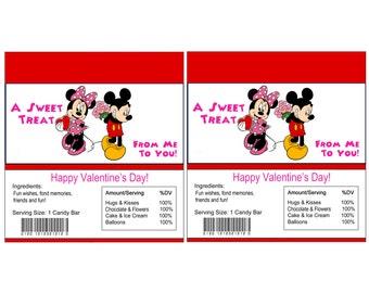 Minnie & Mickey Valentine Candy Bar Wrapper