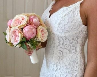 Blush Peony Bouquet, Pink Peony Bouquet, Peony and Rose Bouquet, Silk Peony Bouquet, Peony Wedding Bouquet, Blush Bouquet, Rose Bouquet, Pin
