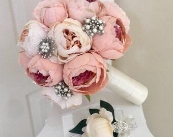 Blush Brooch Bouquet, Pink Peony Bouquet, Vintage Bridal Bouquet, Brooch Bouquet, Blush Peony Bouquet, Cream Peony Bouquet, Ivory Bouquet, V