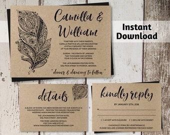 Wedding Invitation Template - Rustic Boho Feather - Printable on Kraft Paper or Cardstock - Instant Download Digital File Editable PDF Suite