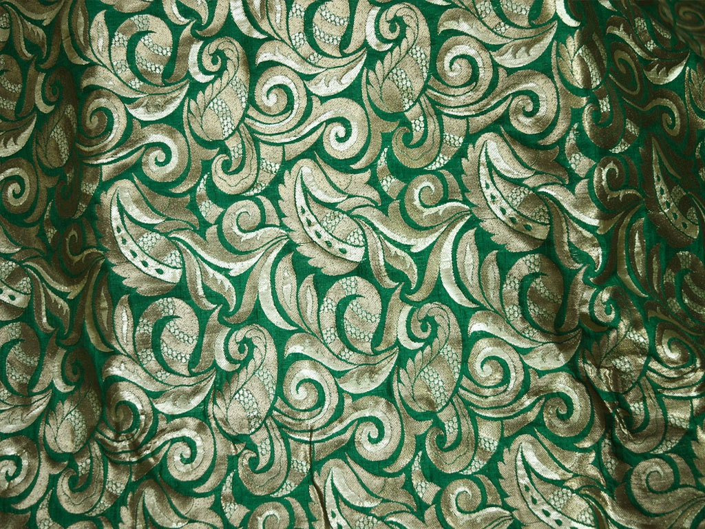 Indian Fabric Green Silk Brocade Fabric By The Yard Banaras