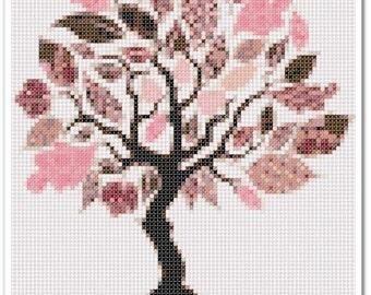 Tree Cross Stitch Pattern, Tree Home decor x stitch pattern, Cross stitch Embroidery, Embroidery pattern