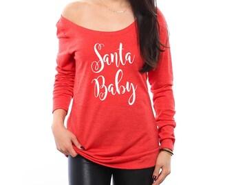 Santa Baby Shirt. Off the Shoulder Top. Christmas Shirt. Christmas Sweater. Ugly Christmas Sweater. Stocking Stuffer. Christmas Gift. Santa